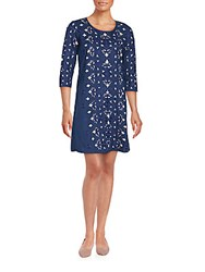 Kas Long Sleeve Cutwork Dress Navy