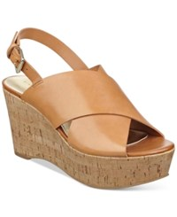 Marc Fisher Sesame Wedge Sandals Women's Shoes Light Natural Leather
