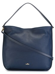 Hogan Logo Plaque Hobo Tote Blue