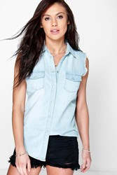 Boohoo Light Wash Sleeveless Denim Shirt Blue
