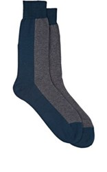 Brioni Men's Colorblocked Trouser Socks Blue Grey Blue Grey