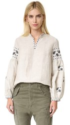 Cynthia Rowley Embroidered Bohemian Blouse Sand