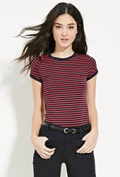 Forever 21 Contrast Trim Striped Tee Navy Red