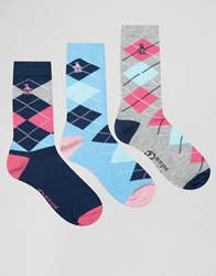 Penguin 3 Pack Check Print Socks Blue Multi