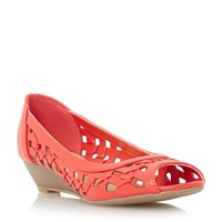 Head Over Heels Kosimo Laser Cut Out Wedge Sandals Coral