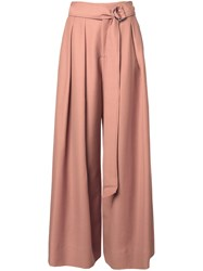 Irene Pleated Palazzo Trousers Pink And Purple