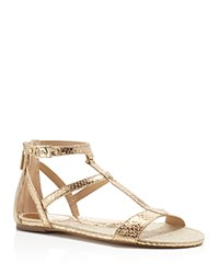 Michael Michael Kors Bria Snake Embossed Metallic Open Toe T Strap Flat Sandals