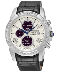Seiko Men's Le Grand Sport Solar Chronograph Diamond 1 10 Ct. T.W. Black Leather Strap Watch 42Mm Ssc311