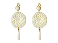 Kenneth Jay Lane Large Top Round Carved Bottom W Drop Earrings Ivory Earring White