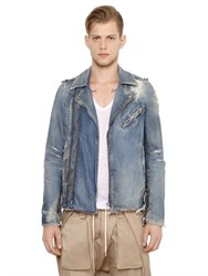 Balmain Destroyed Cotton Denim Biker Jacket
