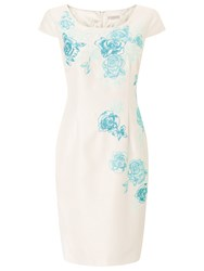 Jacques Vert Petite Embroidered Shift Dress Cream Blue