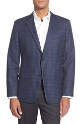 Men's Big And Tall Nordstrom Classic Fit Check Wool Sport Coat Navy