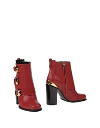Grey Mer Ankle Boots Red
