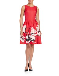 Ivanka Trump Floral Fit And Flare Dress Strawberry Peony