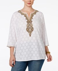 Charter Club Plus Size Beaded Tunic Only At Macy's Bright White