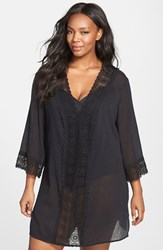 Lablanca Plus Size Women's La Blanca 'Island Fare' V Neck Tunic Cover Up Black