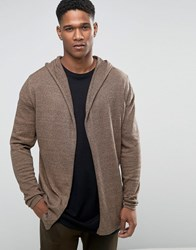 Asos Knitted Hoody Cardigan In Cotton Camel And Navy Twist Brown
