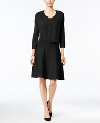 Charter Club Fit And Flare Sweater Dress With Bolero Jacket Only At Macy's Deep Black