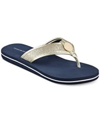 Tommy Hilfiger Clove Flip Flop Thong Sandals Women's Shoes Navy Gold