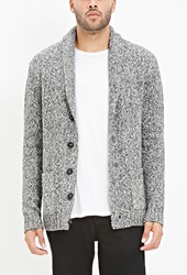 Forever 21 Marled Shawl Collar Cardigan Charcoal Cream