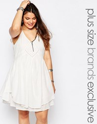 Alice And You Cami Layered Swing Dress With Crochet Inserts White