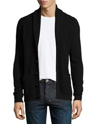 John Varvatos Star Usa Shawl Collar Waffle Knit Cardigan Black