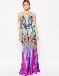 Forever Unique Multi Print Maxi Dress Multi Feather Print