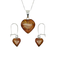 Goldmajor Sterling Silver Amber Heart Pendant And Earring Set Silver Amber