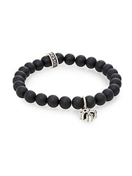 King Baby Studio Onyx Beaded And Sterling Silver Cross Bracelet Black