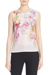 Women's Ted Baker London 'Samata' Floral Print Sleeveless Top Baby Pink
