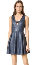 J.O.A. Faux Leather Mini Dress Navy