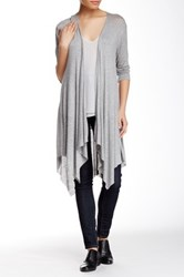 Hip Drapey Front Duster Cardigan Gray
