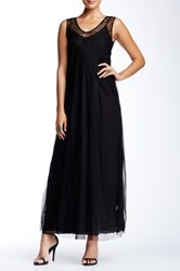 Biya Scoop Neck Mesh Beaded Silk Dress Black