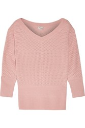 Temperley London Carmina Textured Knit Silk And Wool Blend Sweater Pink