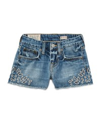 Ralph Lauren Childrenswear Denim Cutoff Eyelet Shorts Blue Size 5 6X Girl's Size 5