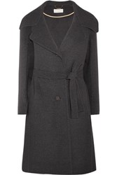 Chloe Belted Wool And Cashmere Blend Coat Charcoal
