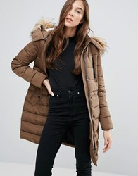 New Look Lincoln Borg Padded Coat Mink Beige