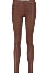 Rag And Bone Stretch Leather Skinny Pants Brown