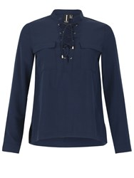 Izabel London Lace Up Shirt With Pockets Navy