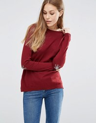 Asos Jumper With Christmas Snowflake Elbow Patch Dark Red