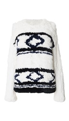 Tibi Fair Isle Fur Sweater