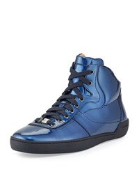 Eroy Patent Leather High Top Sneaker Blue Bally Red