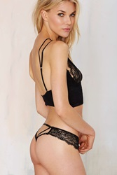 Nasty Gal Pour Vous Lace Thong Black