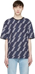 Msgm Navy And Grey Striped T Shirt