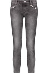Michael Michael Kors Cropped Embellished Mid Rise Skinny Jeans Gray