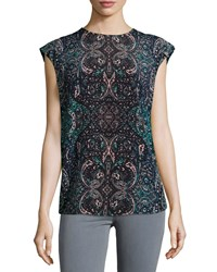 See By Chloe Mosaic Print Cap Sleeve Blouse Blue
