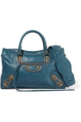 Balenciaga Metallic Edge City Textured Leather Shoulder Bag Blue