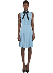 Gucci Ruffle Pleated Crepe De Chine Dress Blue