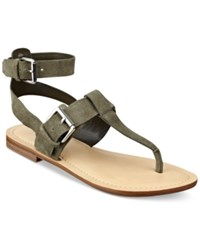 Marc Fisher Reily Flat Thong Sandals Women's Shoes Green Suede