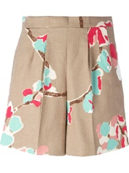 Erika Cavallini Semi Couture Printed High Waist Shorts Nude And Neutrals